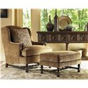 Lexington Fieldale Lodge Bradbury Wing Chair with Exposed Wood Details - Shown with Bradbury Ottoman and Eagle Sideboard