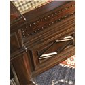 Lexington Fieldale Lodge California King-Size Pine Lakes Bed Detailed with Molding Patterns & Nailhead Trim - Footboard Detail