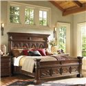 Lexington Fieldale Lodge California King-Size Pine Lakes Bed Detailed with Molding Patterns & Nailhead Trim - Shown with Tahoe Bedside Chest - Bed Shown May Not Represent Size Indicated