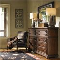 Lexington Fieldale Lodge Prescott Nine-Drawer Dresser with Nailhead Trim - Shown with Lakeview Mirror and Edgewood Leather Chair