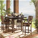 Lexington Fieldale Lodge Pinnacle Leather Upholstered Counter Height Stool - Shown with Durango Bistro Table