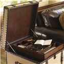 Lexington Fieldale Lodge Gunnison Storage Trunk Table with Leather & Brass Accents - The Storage Tray Inside Easily Moves In and Out
