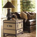 Lexington Fieldale Lodge Gunnison Storage Trunk Table with Leather & Brass Accents - Shown with Chambers Leather Sofa