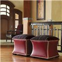 Lexington Fieldale Lodge Exlipse Leather Upholstered Ottoman - Shown with Edgewood Leather Chair