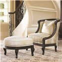 Lexington Florentino Bouillon Ottoman with Exposed Wood and Nailhead Trim