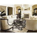 Lexington Florentino Elisabetta Tuxedo Sofa with Flared Arms and Box Pleat Skirt - Shown with Leather Bouillon Chair, Lorenza Bachelor\'s Chest, Bellini Mirror, and Rossa Cocktail Table,