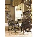 Lexington Florentino Pierced-Back Hand Carved Dining Arm Chair with Leather Seat