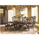 Lexington Florentino Pierced-Back Hand Carved Dining Arm Chair with Leather Seat - Shown with Bertone Dining Table and Arezzo Side Chairs