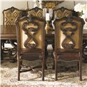 Lexington Florentino Pierced-Back Medallion Upholstered Dining Chair with Leather Seat