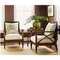 Tommy Bahama Home Island Estate Loose Back Avalon Wicker Chair - Shown with Key Largo End Table