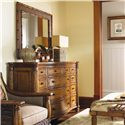 Tommy Bahama Home Island Estate Woven Palm Grove Mirror with Bamboo Frame - Shown with Barbados Triple Dresser
