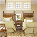 Tommy Bahama Home Island Estate Ginger Island Bedside Chest with Woven Accents - Shown with West Indies Twin Headboard Beds