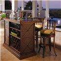 Tommy Bahama Home Island Estate South Beach Rattan Swivel Bar Stool - Shown with Raffles Bar Cabinet