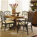 Tommy Bahama Home Island Estate 5 Piece Dining Cayman Table & Ceylon Chairs Set - Shown with Chairs in Noche Finish - Hutch Shown in Image is No Longer Available by the Manufacturer