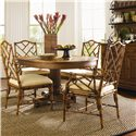 Tommy Bahama Home Island Estate Round Cayman Kitchen Table - Shown with Ceylon Arm & Side Chairs - Hutch Shown in Image is No Longer Available by the Manufacturer