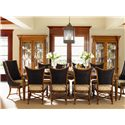 Tommy Bahama Home Island Estate <b>Quick Ship</b> Cruz Bay Host Chair with Woven Abaca - Shown with Grenadine Rectangular Dining Table, Mangrove Chairs and Mariana Display Cabinets