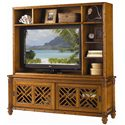 Tommy Bahama Home Island Estate Nevis Media Console with Pierced Lattice Panels - Shown with Nevis Media Hutch