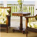 Tommy Bahama Home Island Estate Cinnamon Cove Lamp Table with Rattan Base - Shown with Agave Chairs