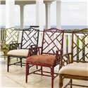 Tommy Bahama Home Island Estate <b>Customizable</b> Ceylon Arm Chair with Rattan Frame - Shown in Plantation, Noche, Cilantro &amp; Sangria Finishes