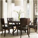 Lexington Kensington Place Six Piece Dining Set with Round Table and Leather-Upholstered Arm Chairs