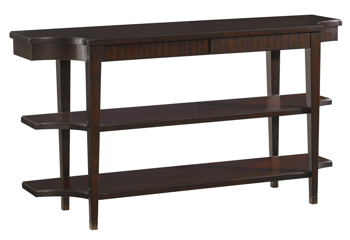 Lexington Kensington Place Transitional Blakeney Two Shelf Console Table With Two Drawers Johnny Janosik Sofa Tables Consoles