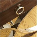 Lexington Mirage Hayworth Lamp Table - Detail of Stainless Polished Nickel Legs and Ring Handle