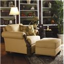 Lexington Quick Ship Upholstery Quick Ship Benoa Harbour Ottoman with Exposed Wood Feet - Shown with Matching Benoa Harbour Chair