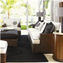 Tommy Bahama Home Ocean Club Woven Split Rattan Salina Sofa - Shown with Salina Chair, Ma-Holla Cocktail Ottoman, and Fiji Drum Table