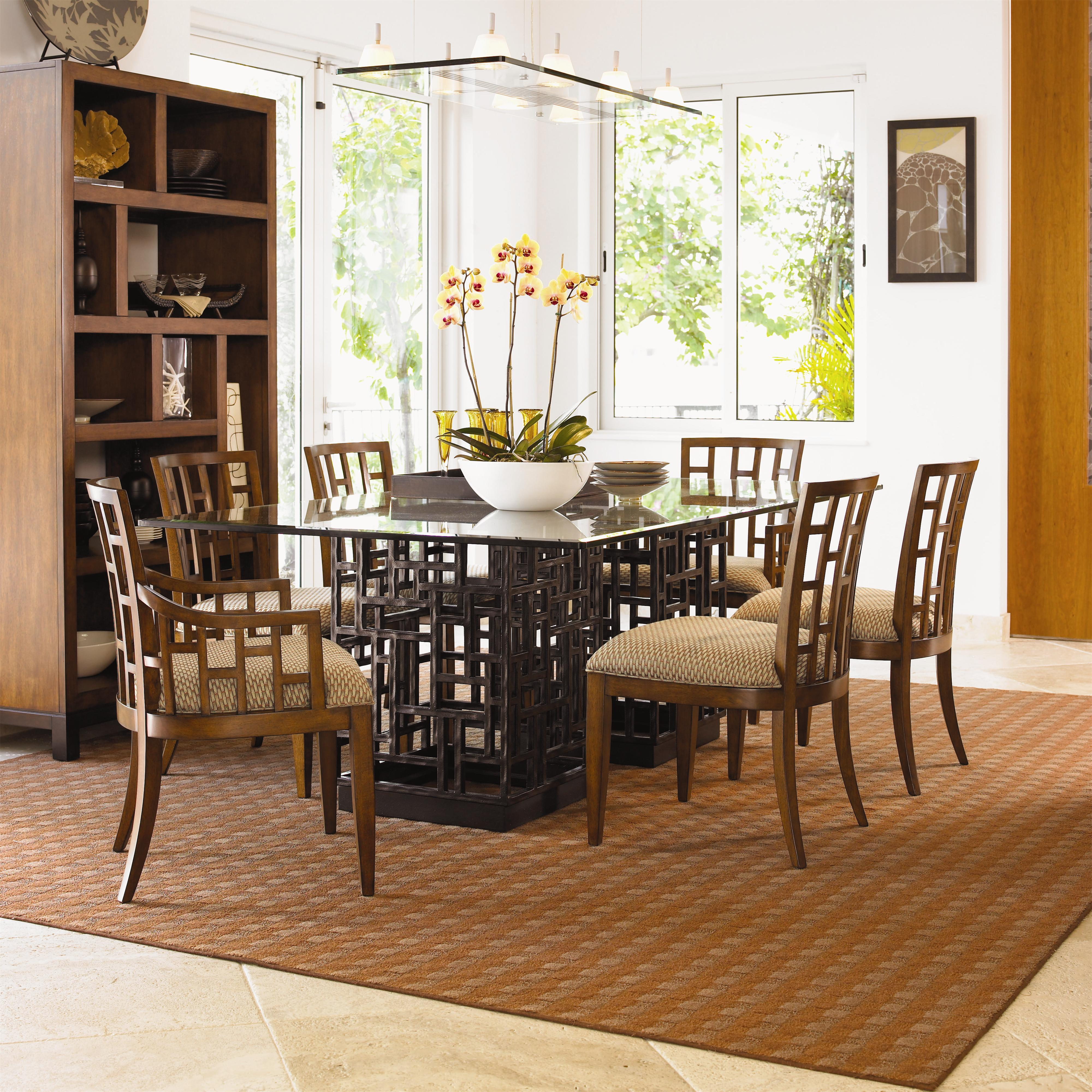 Peninsula Rectangular Dining Table: Tommy Bahama Home Ocean Club 536-875-84C Double Pedestal