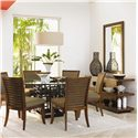 Tommy Bahama Home Ocean Club 60inch South Sea Round Glass Table - Shown with Kowloon Side Chairs, Lagoon Sofa Table, and Somerset Mirror