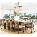 Tommy Bahama Home Ocean Club Double Pedestal Peninsula Dining Table - Shown with Leaf and Kowloon Side and Arm Chairs