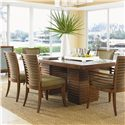 Tommy Bahama Home Ocean Club Double Pedestal Peninsula Dining Table - Shown without Leaf and Kowloon Side and Arm Chairs