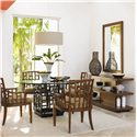 Tommy Bahama Home Ocean Club <b>Customizable</b> Lanai Arm Chair with Geometric Pattern - Shown with South Sea Round Glass Table, Lagoon Sofa Table, and Somerset Mirror