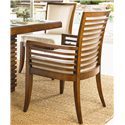 Tommy Bahama Home Ocean Club <b>Customizable</b> Kowloon Arm Chair with Horizontal Slats - Horizontal Back Slats Lend Appealing Lines to the Design