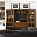 Tommy Bahama Home Ocean Club Sliding Door Point Break Entertainment Chest - Shown with Ma-Holla Cocktail Ottoman and Salina Chair