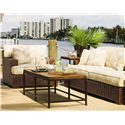 Tommy Bahama Home Ocean Club Crushed Bamboo & Distressed Metal Ocean Reef Cocktail Table - Shown with Salina Sofa and Chair