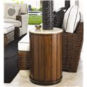 Tommy Bahama Home Ocean Club Stone Top Drum Table - Shown with Salina Chair and Ottoman