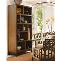 Tommy Bahama Home Ocean Club Tradewinds Open Back Bookcase/Etegere - Shown with Lanai Side and Arm Chairs and South Sea Rectangular Glass Top Table