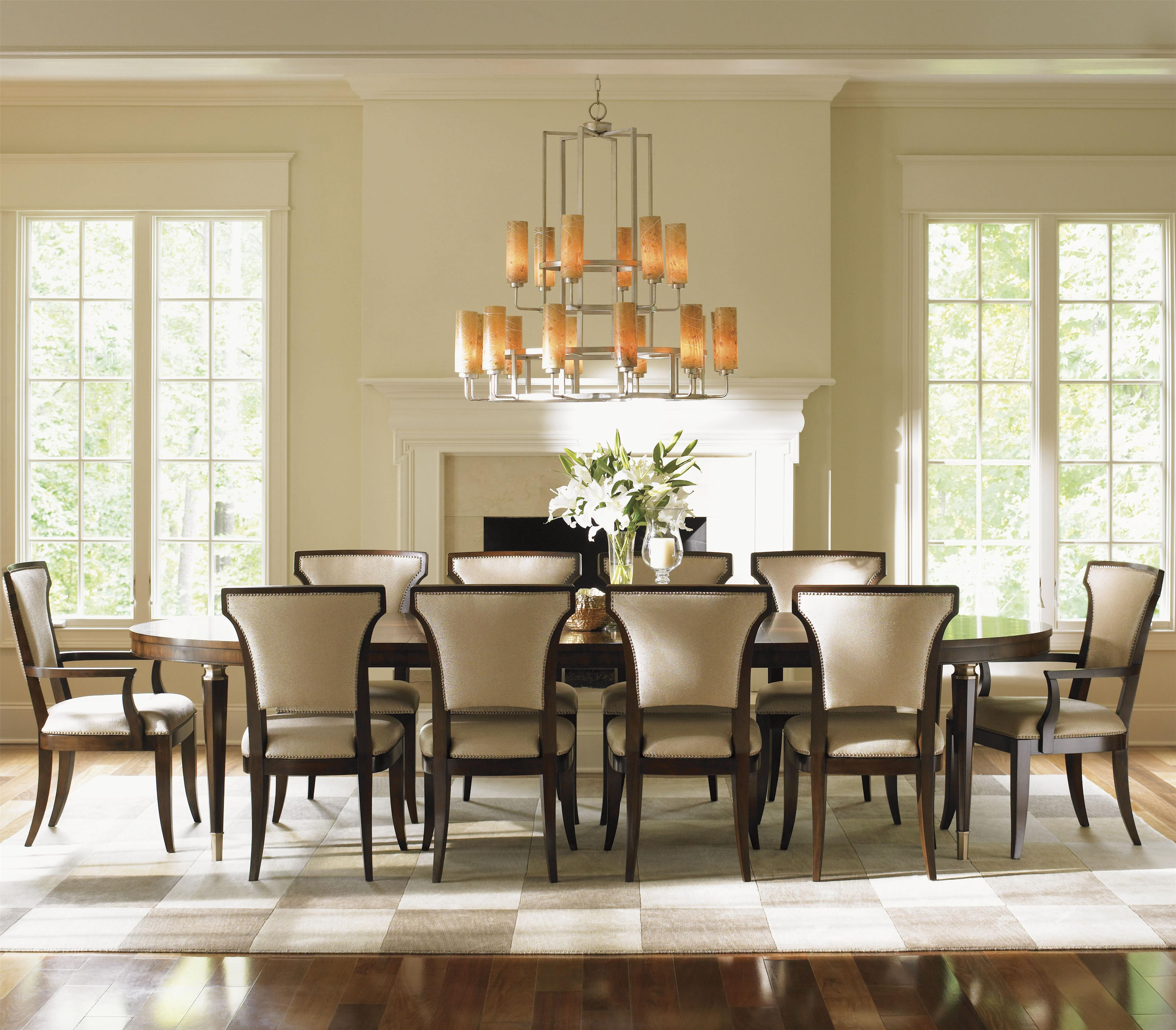 11 piece dining room set lexington tower place 11 piece formal dining set with seneca married fabric sidechairs belfort 6136