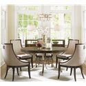 Lexington Tower Place 6 Piece Dining Set with Regis Table and Upholstered Host Chairs