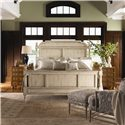Lexington Twilight Bay King-Size Hathaway Panel Bed - Shown with Isabella Chair and Ottoman, and Brandon Bunching Chests in Chestnut Finish