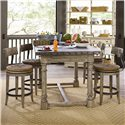 Lexington Twilight Bay 5 Piece Shelter Island Bistro Table & Dalton Counter Stools Set