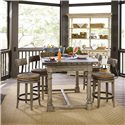 Lexington Twilight Bay 5 Piece Shelter Island Bistro Table & Dalton Counter Stools Set - Shown with Merideth Console and Hutch in Antique Linen Finish