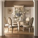 Lexington Twilight Bay <b>Customizable</b> Byerly Oval Back Side Chair - Shown with Barrett Dining Table in Antique Linen Finish, and Pierpoint Display Cabinet in Antique Linen/Driftwood Finish