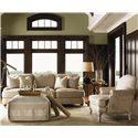 Lexington Twilight Bay Jasmine Ottoman - Shown with Carley Sofa, Keaton End Table, and Abbey Chair