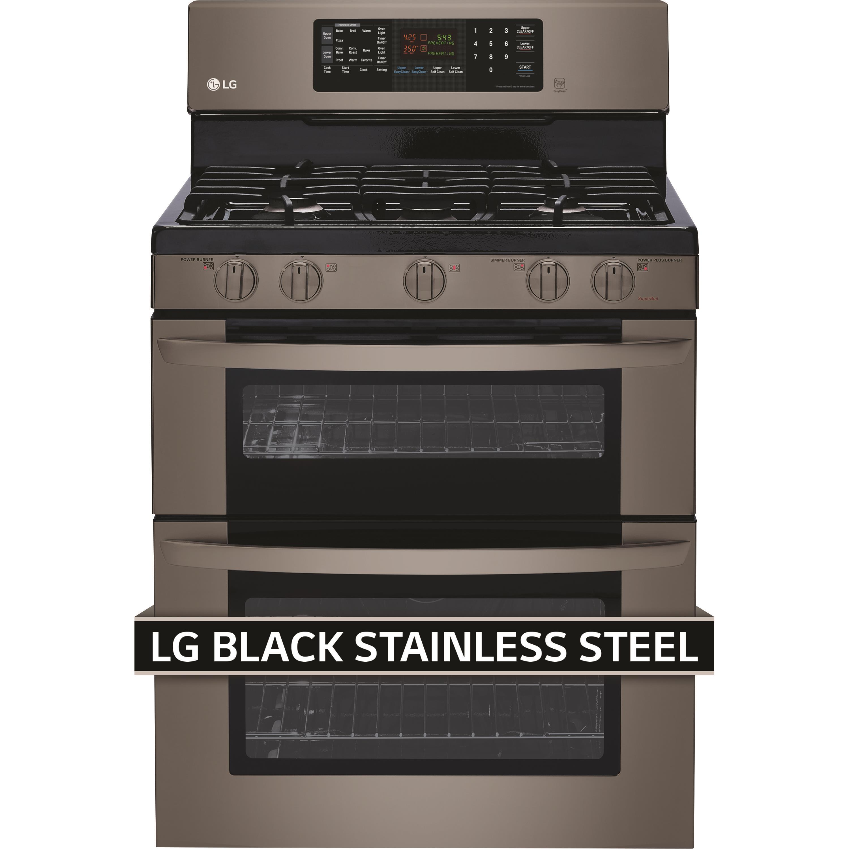 LG Appliances Gas Ranges 6.1 Cu. Ft. Gas Double Oven Range - Item Number: LDG3036BD