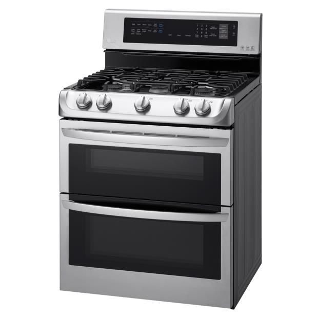 LG Appliances Gas Ranges 6.9 Cu. Ft. Gas Double Oven Range - Item Number: LDG4313ST