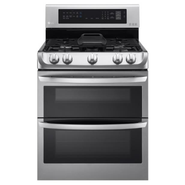 LG Appliances Gas Ranges 6.9 Cu. Ft. Gas Double Oven Range - Item Number: LDG4315ST