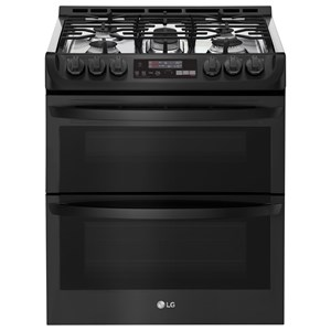 LG Appliances G Free 6.9 Cu.Ft. Wi-Fi Enabled Gas Double Oven