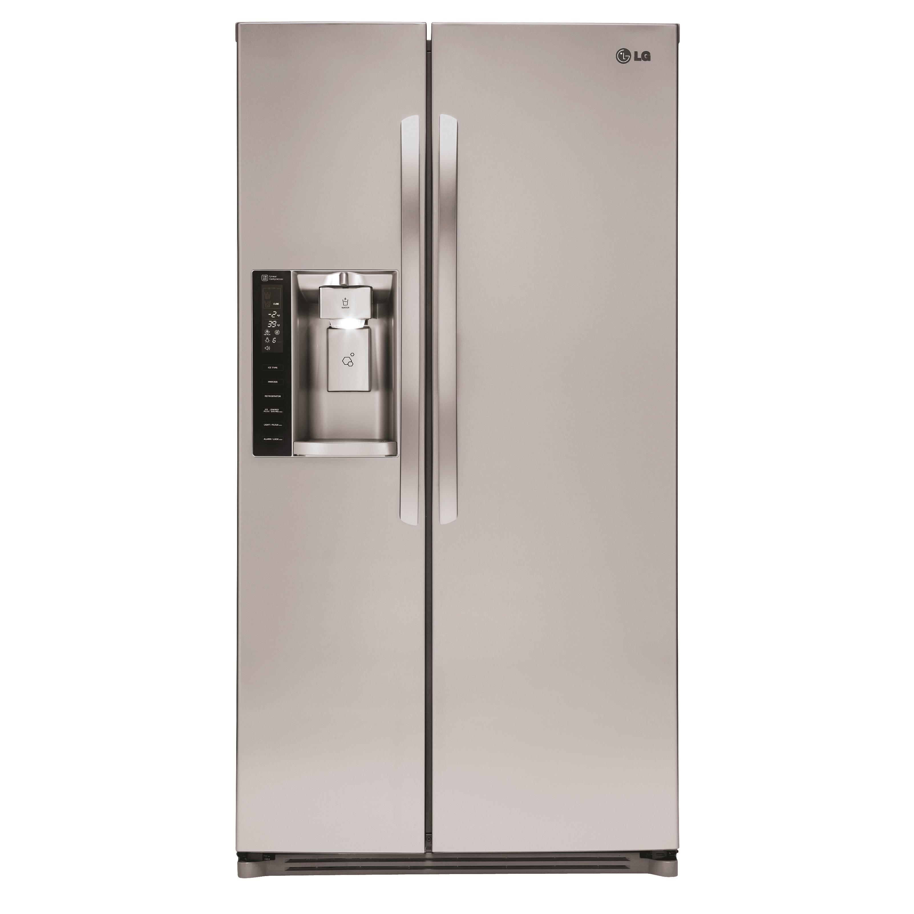 LG Appliances Side by Side Refrigerators 26 cu. ft. Side by Side Refrigerator - Item Number: LSXS26326S